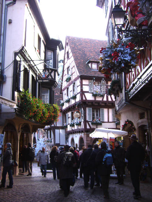 Cobble streets and half-timbered houses