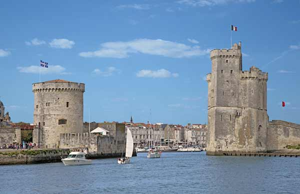 The entrance to the fortified port of La Rochelle