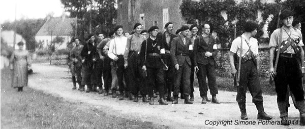 French resistance marching through a village