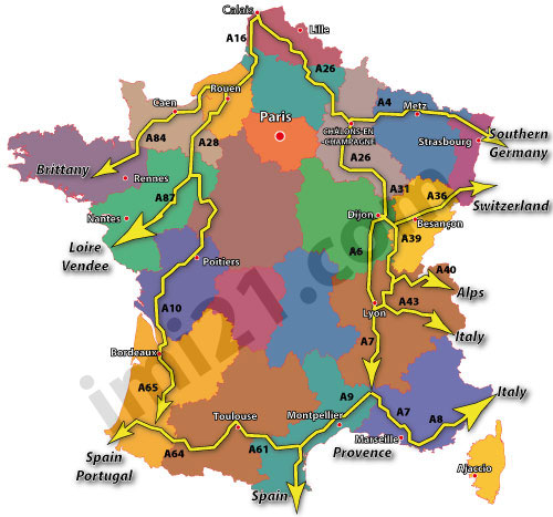 Motorway Map Of France.The Autoroutes And Motorways In France