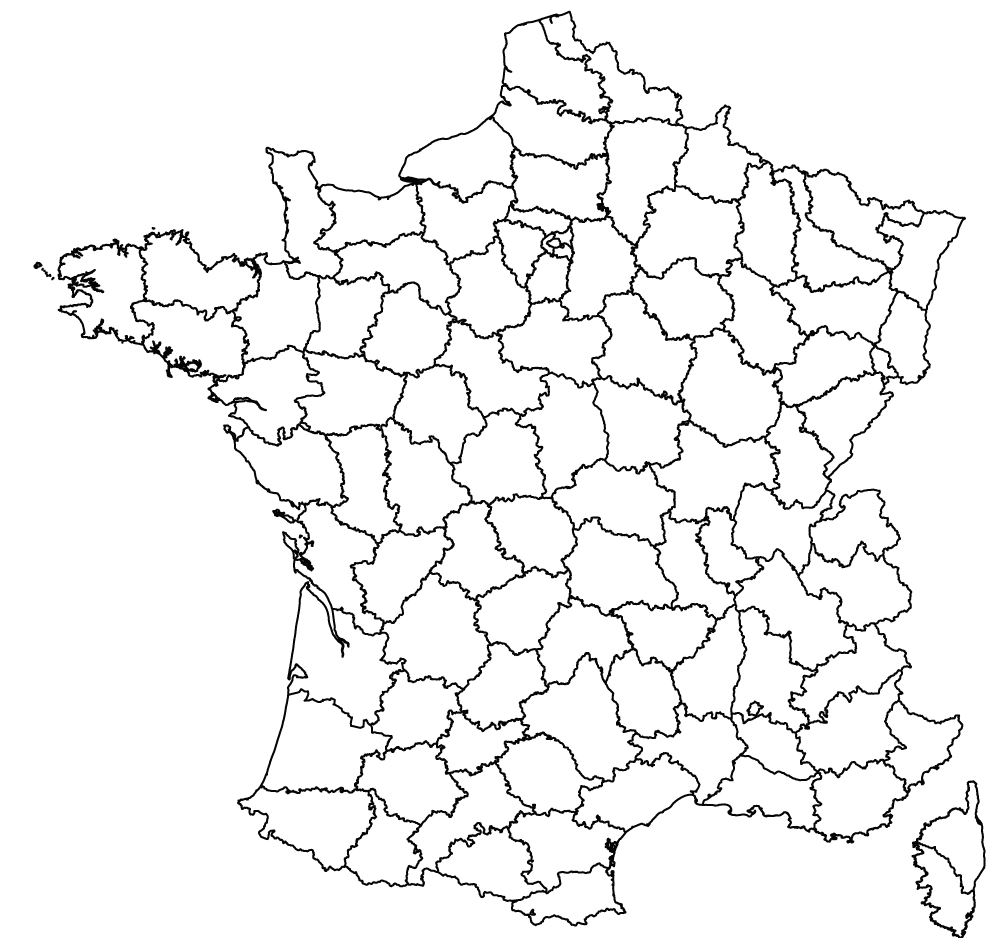 Map Of France Drawing.France Coloured And Outline Maps Of The Departments