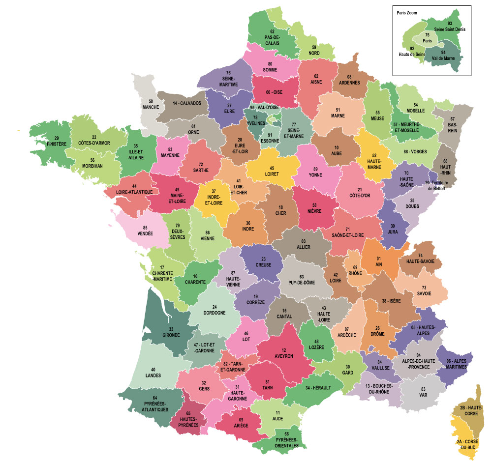 Map Of France France.Map Of The French Departments