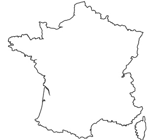 Outline map of France