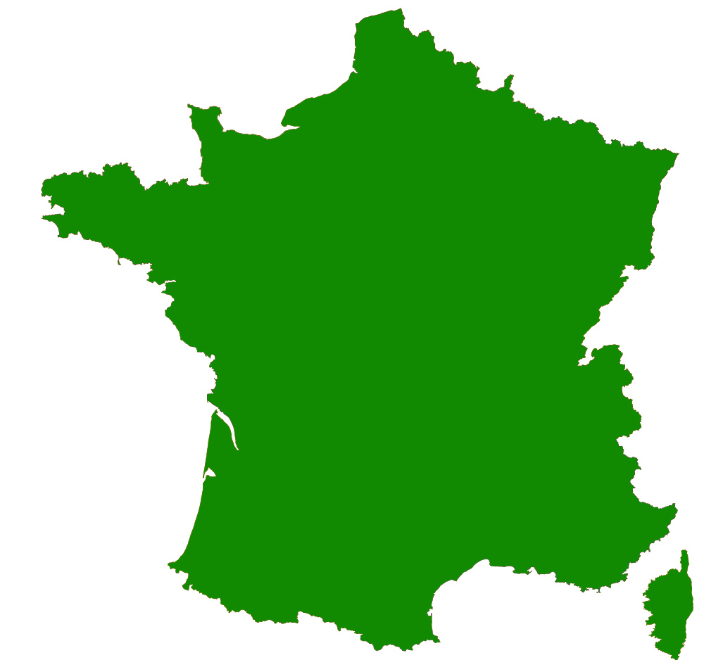 Contour map of France