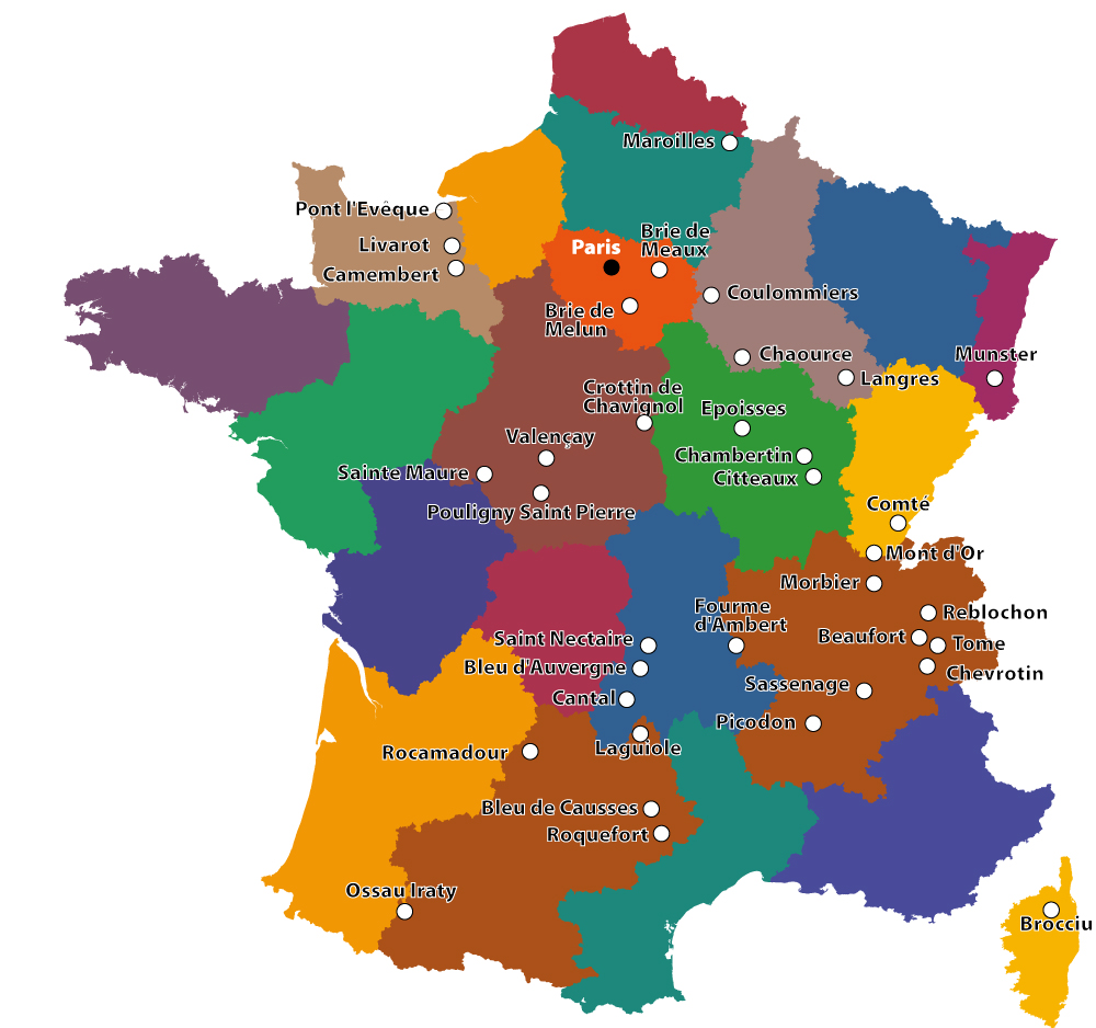 A French Cheese Map - Map of france in french