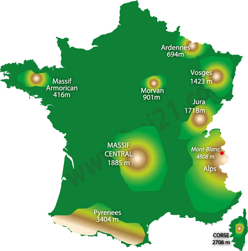 Map Of The Mountains In France - France on map