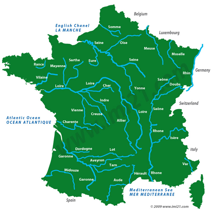 Map Of France North Coast.Map Of The French Rivers