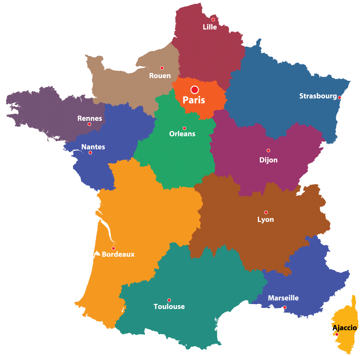 Outline Political Map Of France.Maps Of The Regions Of France