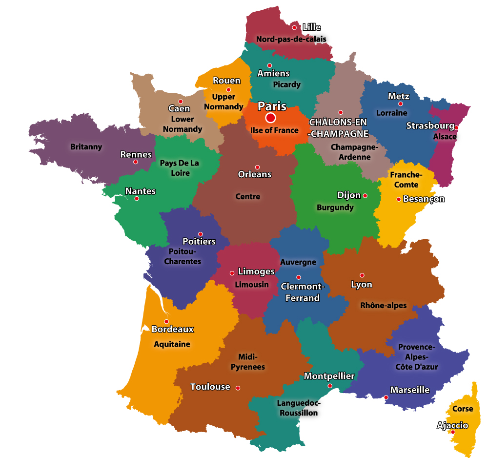 Map Of France Departments.Maps Of The Regions Of France