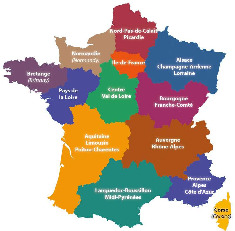 Regions of France Map