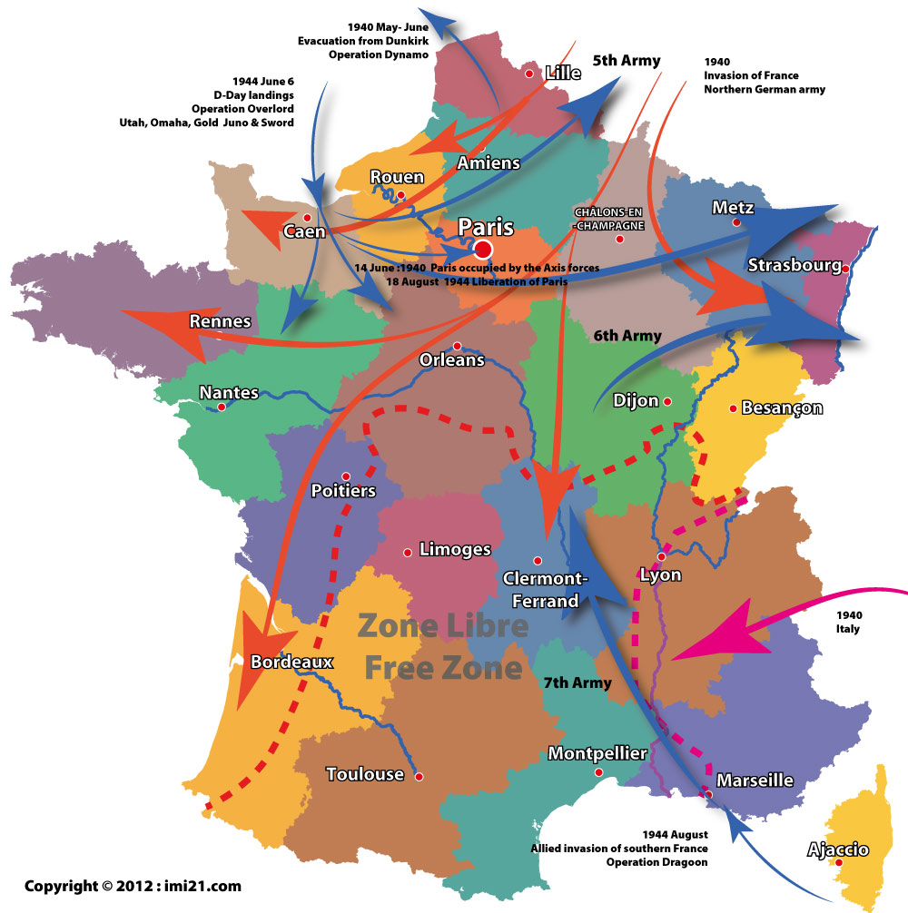 Map of the Allied and Axis movements in France during the ...