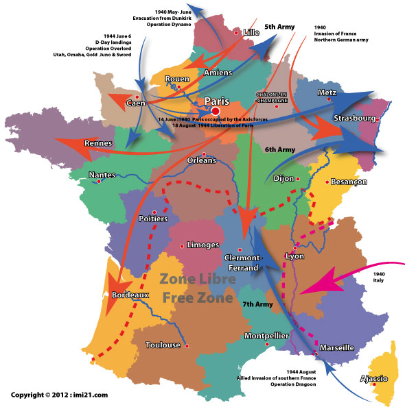 Map of the allied and axis movements in france during the second world war 2 map of france gumiabroncs Choice Image