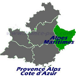 Department map of Alpes Maritimes