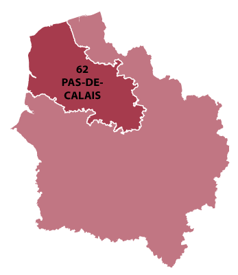 Map of North-Calais in France