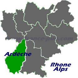 Department map of Ardèche