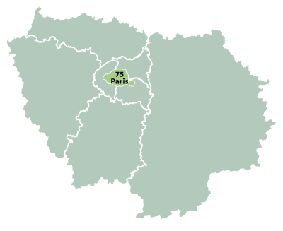 Map of Paris-Isle-of-France in France