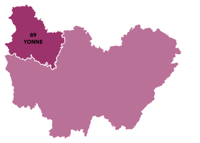 Map of Burgundy, France
