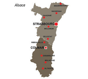 Map of the major towns and cites in Alsace