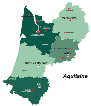 Map of the major towns and cites in Aquitaine