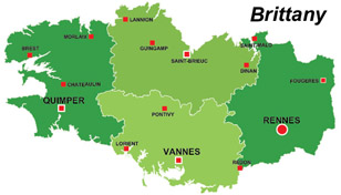 Map of the major towns and cites in Brittany