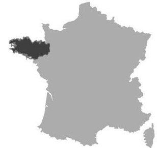 Map of Brittany in France