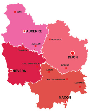 Map of the major towns and cites in Burgundy