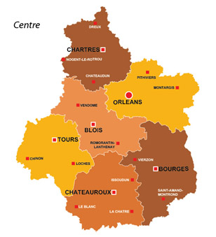 Map of the major towns and cites in Centre