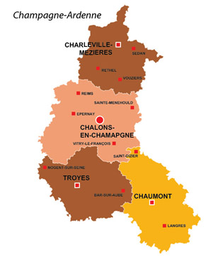 Map of the major towns and cites in Champagne-Ardenne