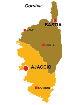 Map of the major towns and cites in Corsica