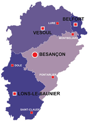Map of the major towns and cites in Franche-comte