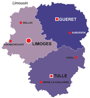 Map of the major towns and cites in Limousin