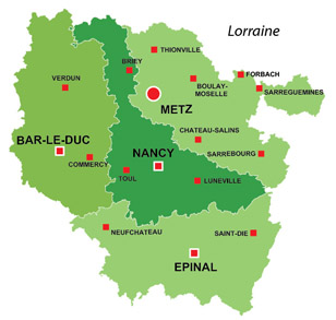 Map of the major towns and cites in Lorraine