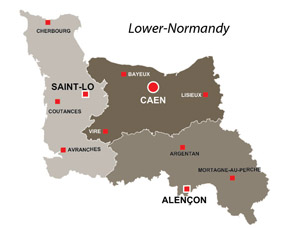 Map of the major towns and cites in Lower-Normandy