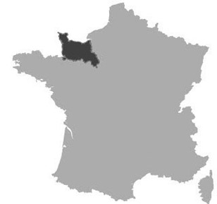 Map of Lower-Normandy in France