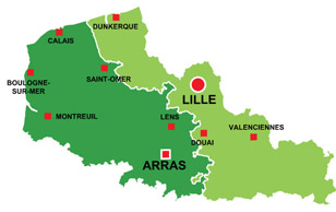 Map of the major towns and cites in North-Calais
