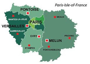 Map of the major towns and cites in Paris-Isle-of-France