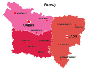 Map of the major towns and cites in Picardy