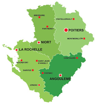Map of the major towns and cites in Poitou-Charentes