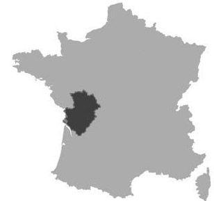 Map of Poitou-Charentes in France