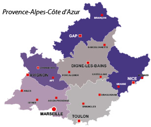 Map of the major towns and cites in Provence-Alpes-Azur
