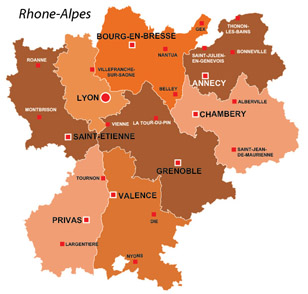 Map of the major towns and cites in Rhone-Alpes