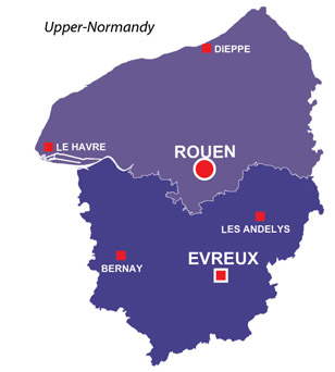 Map of the major towns and cites in Upper-Normandy