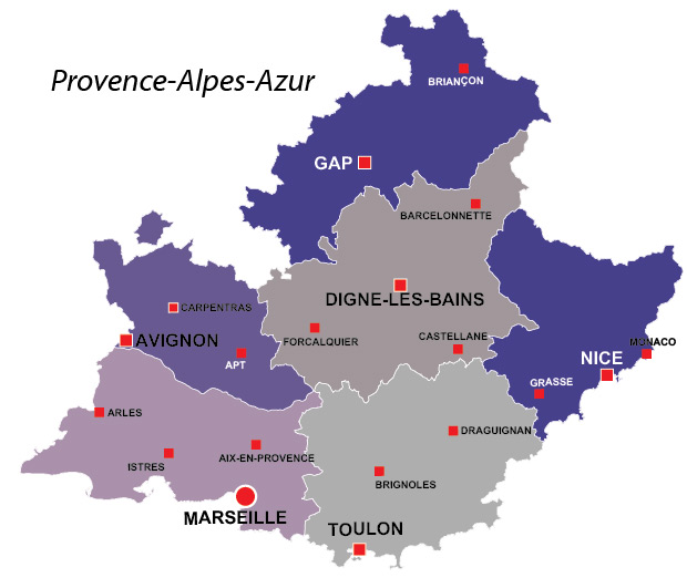 France Map With Regions.Map Of France Provence Region Travel