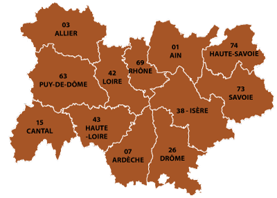 The departments in  Auvergne-Rhône-Alpes