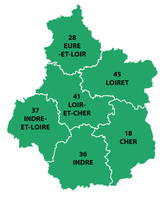 The departments in Centre-Val de Loire