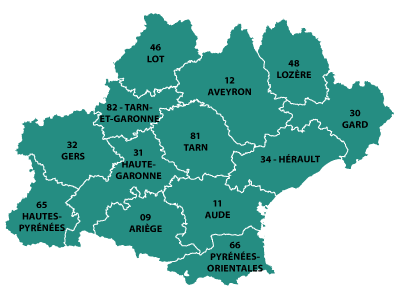 The departments in Occitaine