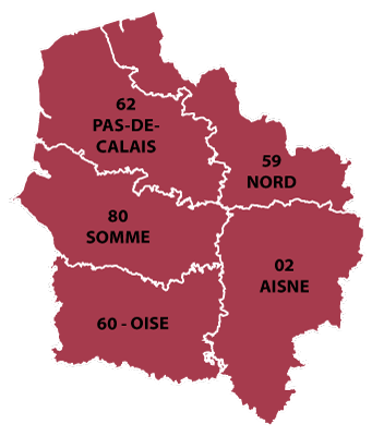 The departments in Hauts-de-France