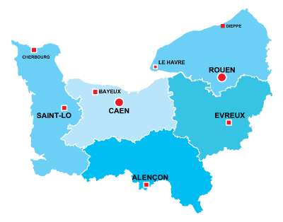The departments in Normandie