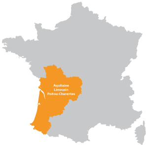 Map of Nouvelle-Aquitaine in France