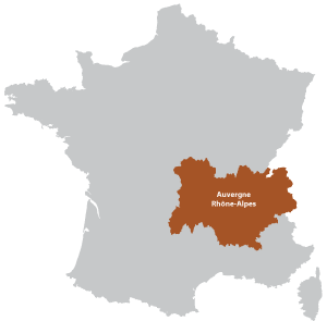 Map of Auvergne Rhône-Alpes in France